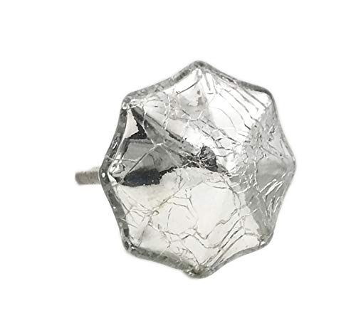 Octagon Mercury Glass Distressed Chrome Dresser Knob, Cabinet Pull - Pack of 10