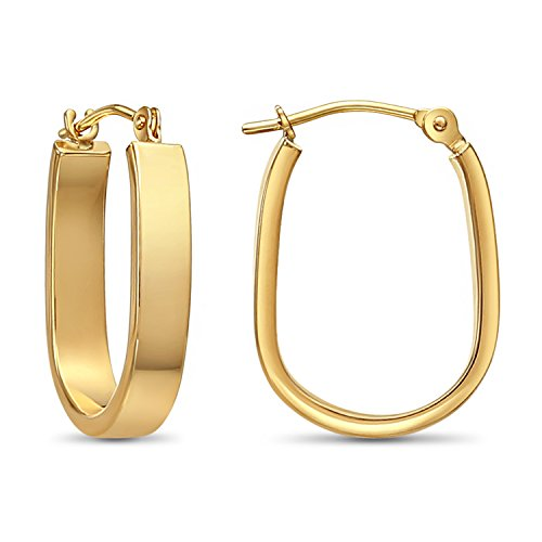 14k Yellow Gold Small Rectangular Tube U-shape Hoop Earrings (yellow-gold) ()