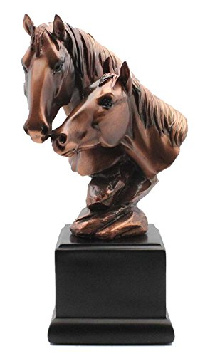 Double Bronze Horse Head Statue - Figurine by L7 Enterprises