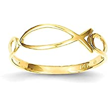ICE CARATS 14k Yellow Gold Ichthus Fish Band Ring Religious Fine Jewelry Gift Valentine Day Set For Women Heart