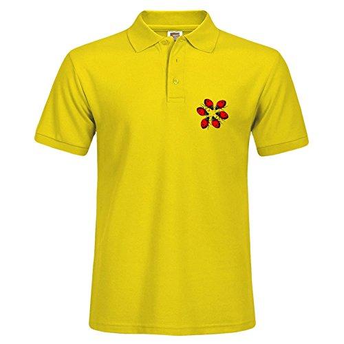 Ladybug Ring Yellow - Short-sleeve Polo Shirt With Ladybug Ring Pattern Yellow Uniform Size Xxx-large
