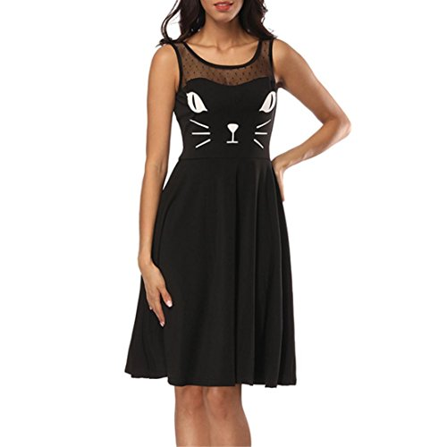 Femmes Grille Dress Robe Paule T Shirt Lips Court Party Imprimer Mini sans Femmes Beauty Strappy Manches Chat Jumpsuit Chemisier Gilet Top DContract Tops Stripe Sexy Dentelle Swing Owf5nxnqIY