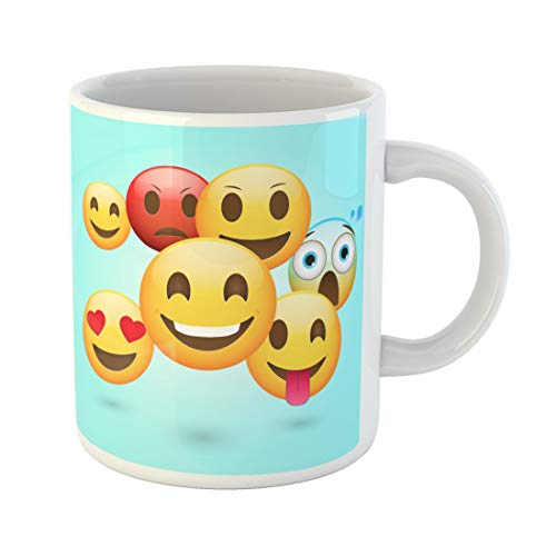 Semtomn Funny Coffee Mug Yellow Happy Emoticons Fresh Angry Cartoon Character Chat Cheerful 11 Oz Ceramic Coffee Mugs Tea Cup Best Gift Or Souvenir ()