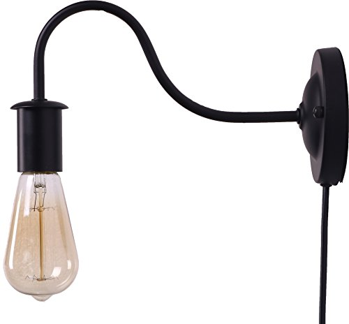 BRIGHTESS Retro Wall Sconces Light Wall Lamp Wall Mount Set of 2 Packs E26 Base Plug in Black Industrial Vintage Edison Wall Lamp Fixture Led Porch Light for Indoor Bathroom by BRIGHTESS (Image #2)