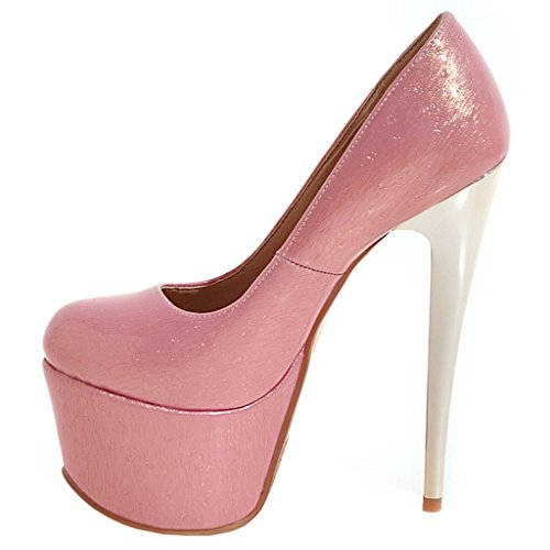 ENMAYER Womens Patent Leather Sexy Platform Stiletto Super High Heels Round and Peep Toe Pumps Slip on Wedding Dress Court Shoes Pink#32 GQtPH7lO