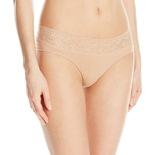 Rosie Pope Women's Seamless Thong with Lace, Nude, Small