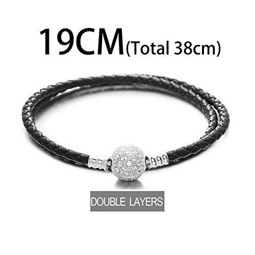 Gabcus Blue Leather Bracelet 925 Sterling Silver Bracelets BZSL013 - (Metal Color: Double Layer 19CM)