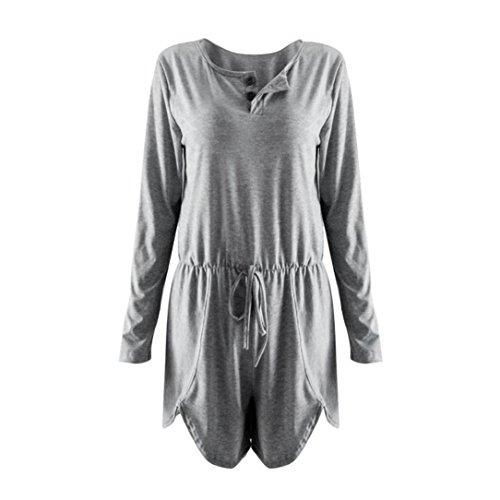 DEELIN Pantalones Cortos De Una Sola Pieza Atractivos para Mujer con Cuello En V Pantalones Cortos Ropa De Trabajo De La Playa SóLida Vestido Holgado Gris: ...