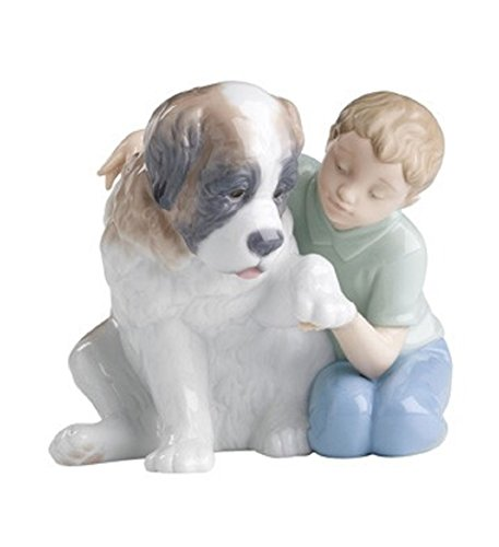 "Nao by Lladro Collectible Porcelain Figurine: LET ME MAKE IT BETTER - 5 1/2"" tall - boy with his puppy dog..."