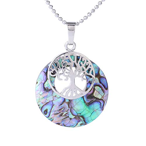 (Natural Abalone Shell Necklaces Pendants Colorful Pink Yellow Seashell Round Beads Tree Of Life Pendant Women Jewelry Colorful-Necklace)