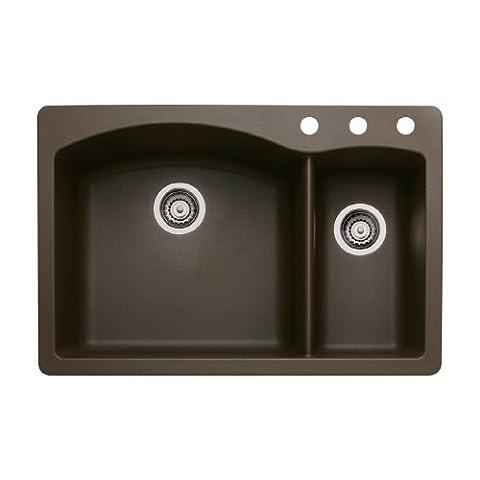 Blanco 440197-3 Diamond 3-Hole Double-Basin Drop-In or Undermount Granite Kitchen Sink, Cafe Brown (Brown Granite Kitchen Sinks)