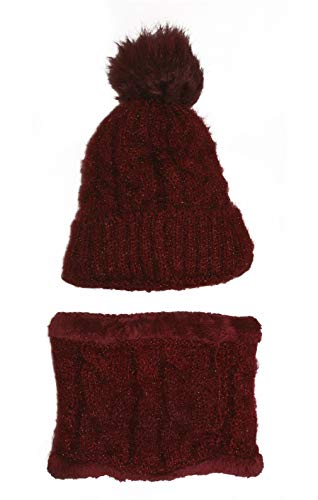 Best 2 Piece Designer Red Wine Heat Holding Ski Hat Infinity Scarf Set Knitted Hippie Plaid Fun Beanie Cap Unique Themed Prime Snowboarding Gift Idea for Women Lady Teen Girl Her 2019
