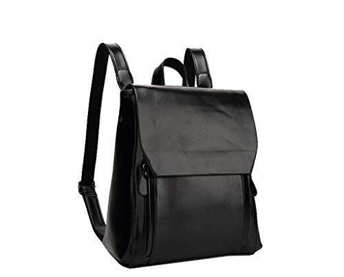 Tom Clovers Casual Women Backpack Fashion Shoolbag Camping Bag Shoulder Bag Black -