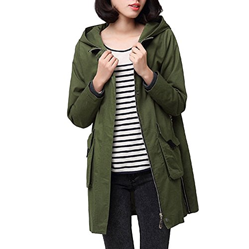 Ashlen Women's Zip Up Cold Weather Midi Length Hooded Jacket ArmyGreen 3XL