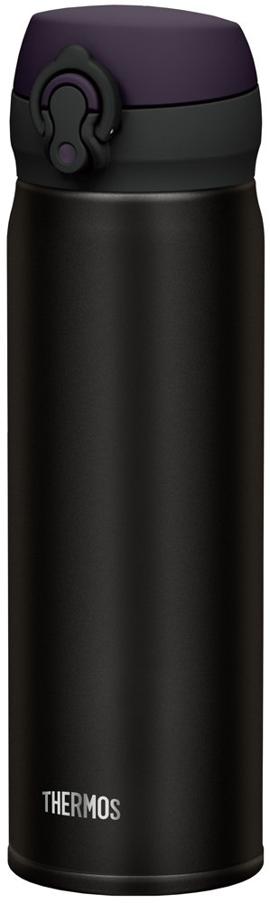 Thermos Stainless Steel Commuter Bottle, Vacuum insulation technology locks,0.5-L,ALL-Black,[one-touch open type] ,JNL-502 ALB