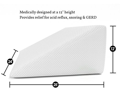 Bed Wedge Pillow with Memory Foam Top by Cushy Form - Best for Sleeping, Reading, Rest or Elevation - Breathable and Washable Cover (12 Inch Wedge, White)