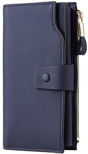 Womens Blue Wallet (Travelambo Womens RFID Blocking Large Capacity Luxury Waxed Genuine Leather Clutch Wallet Multi Card Organizer (ReNapa Blue Navy))