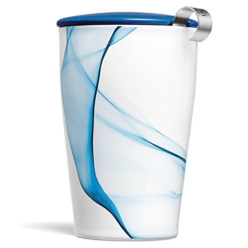 Tea Forte Kati Cup Bleu, Ceramic Tea Infuser Cup with Infuser Basket and Lid for Steeping Loose Leaf Tea