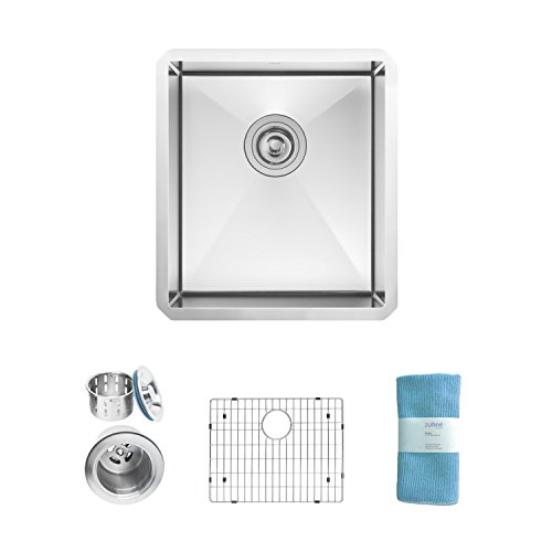 Zuhne Modena 15 x 17 Inch Undermount Single Bowl 16 Gauge Stainless Steel Bar or Prep Kitchen Sink