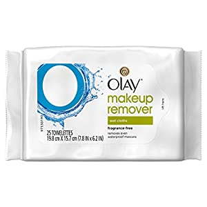 Olay Makeup Remover Wet Cloths, Fragrance Free, 25 Count