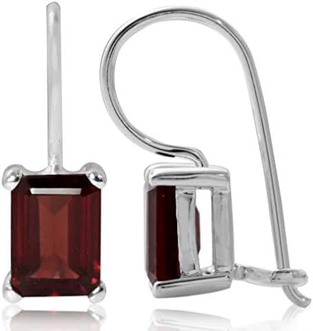 2.64ct. Natural Garnet 925 Sterling Silver Hook Closure Earrings