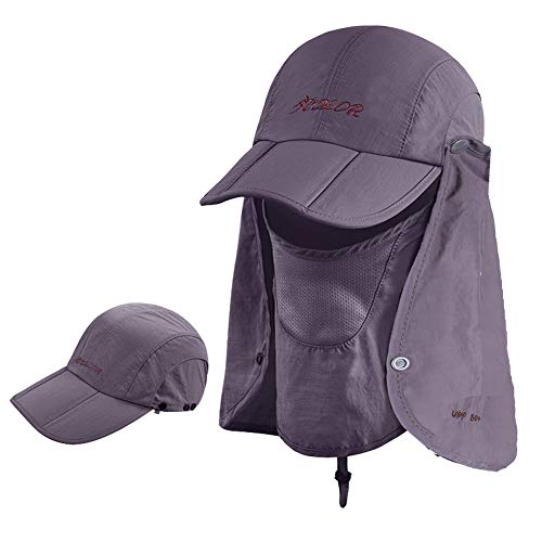 (ICOLOR 360° Protection Folding Sun Hat, Flap Hats Man Women UPF 50+ Cycling Sun Cap, Removable Neck & Face Flap Cover Caps for Baseball, Hiking, Fishing Outdoor Camping Activities-Dark Gray)
