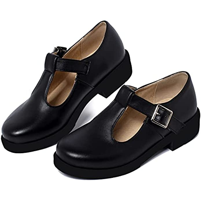 Caradise Womens T Strap Mary Jane Chunky Low Heel School Uniform Dress Shoes