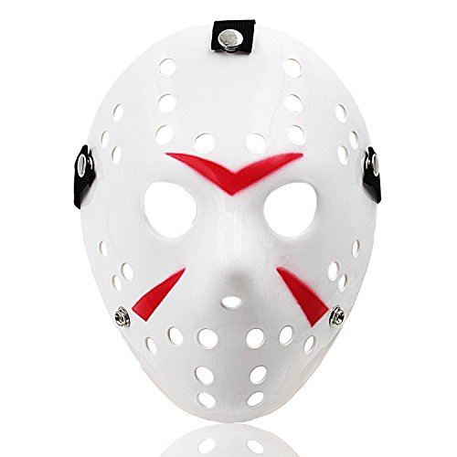 Jason Mask Halloween Cosplay Costume Horror Hockey Mask White 09W]()