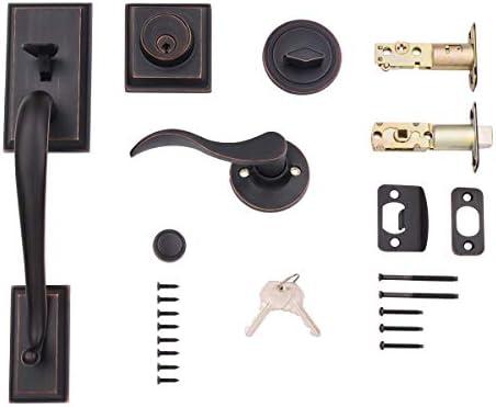 Amazon Basics Modern Exterior Door Handle with Right-Hand Wave Door Lever and Deadbolt Lock Set, Oil Rubbed Bronze