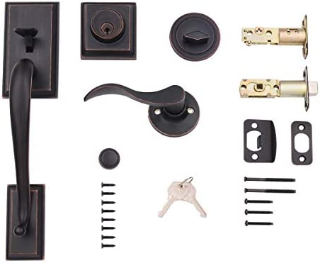 AmazonBasics Modern Door Handle and Deadbolt Lock Set, Right-Hand Wave Door Lever, Oil Rubbed Bronze