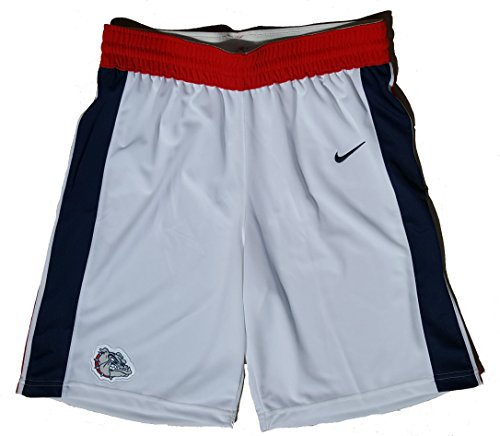 NIKE Men's Elite Enforcer Basketball Shorts Gonzaga Bulldogs 802301-100 (Large) White/Navy/Red