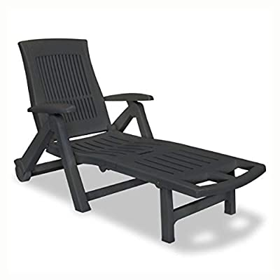 K&A Company Sun Lounger, Sun Lounger with Footrest Plastic Anthracite
