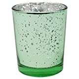 Just Artifacts Mercury Glass Votive Candle Holder 2.75'' H (12pcs, Speckled Mint) -Mercury Glass Votive Tealight Candle Holders for Weddings, Parties and Home Décor