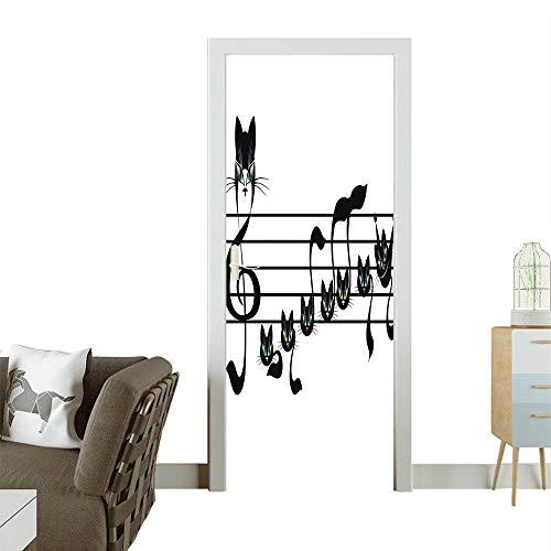 (Art Door Stickers Not Kittens Cat Work Notati Children Halloween Style Pattern Black Door Decals for Home Room DecorationW36 x H79)