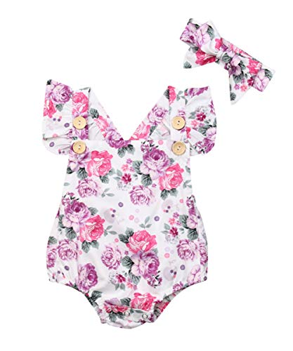 - Newborn Kids Baby Girls Clothes Floral Jumpsuit Romper Playsuit + Headband Outfits (Pink, 6-12 Months)