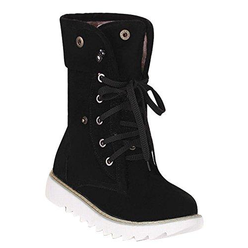 Snow Shoes Casual Concise Carol Mid Women's Black calf Flatform Boots R7xqF