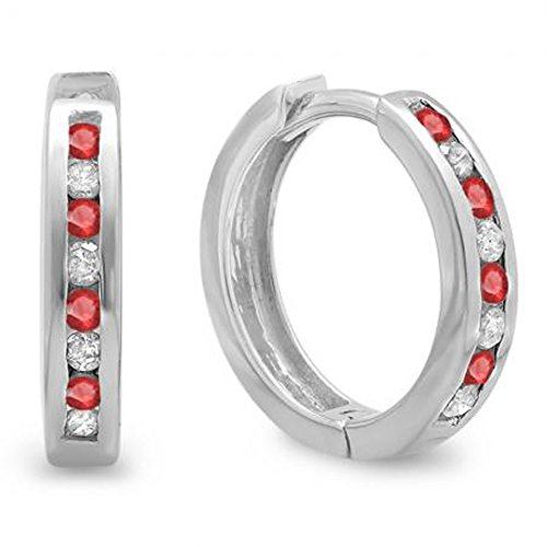 Dazzlingrock Collection Small 11mm Round Ruby & White Diamond Huggie Hoop Earrings, Sterling Silver