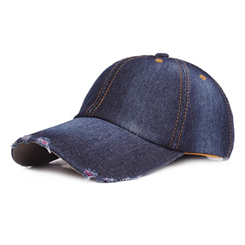Cowboy Panels - IL Caldo Unisex Washed Twill Cowboy Baseball Cap Six Panel Cap Hat,Dark Blue