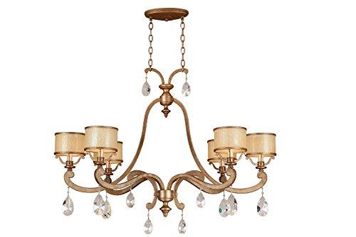 Corbett Lighting 71-56 Corbett-71-56 Roma 6-Light Island Pendant with Cream Ice Glass and Crystal Antique Roman -