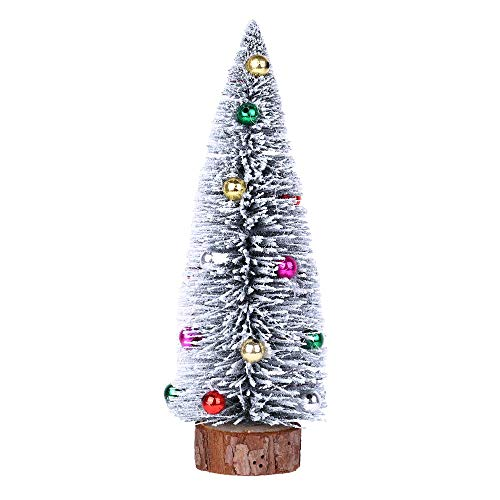 ASERTYL Christmas Tree Mini Pine Tree with Wood Base DIY Crafts Home Tabletop Decor Snow Frost Trees Bottle Brush Trees Tabletop Decoration Home Office Decor for $<!--$1.59-->
