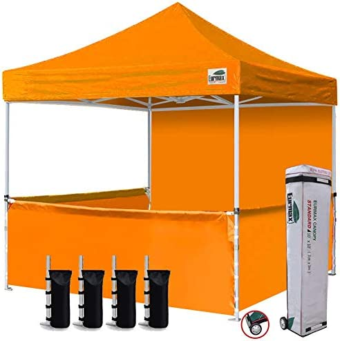 Eurmax 10x10 Ez Pop-up Booth Canopy Tent Commercial Instant Canopies with 1 Full Sidewall /& 3 Half Walls and Roller Bag with 4 SandBags Blue 3 Cross-Bar