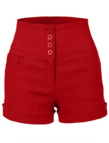 RubyK Womens High Waisted Sailor Shorts with Stretch,Rbkwb1173_red,Medium,Rbkwb1173_red,Medium
