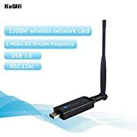KuWFi 11AC 1200Mbps Dual Band Dual-band Wireless USB WIFI Adapter WIFI Bluetooth 4.0 Receiver 2 in 1 Function Dual band Bluetooth wifi adapter receiver with 5dbi Antenna