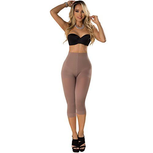 Laty Rose Womens Butt Lifter Thigh Slimmer Capri Shapewear High Waist Tummy Control Stretch Leggings Colombianos Licras Levanta Cola Mujer Cocoa 3XL