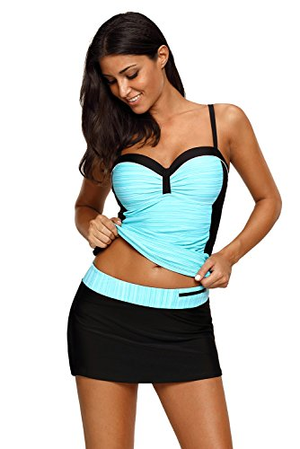 REKITA Womens Swimsuit Halter Tankini Top and Skort Bottom Set Bathing Suits, Green Black, XX-Large