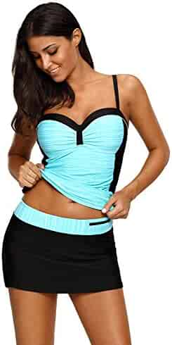 b3a4cbfeb28f6 REKITA Womens Swimsuit Halter Tankini Top and Skort Bottom Set Bathing Suits
