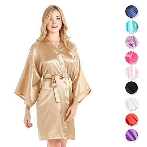 MEVNI Women's Kimono Robe, Short, Gold, Extra Large