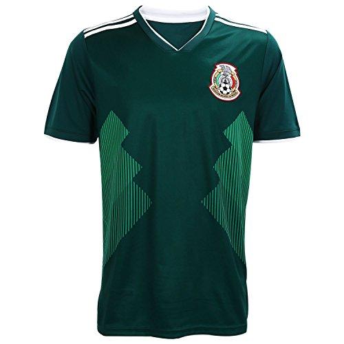 Mexico Soccer Jersey, Camiseta Replica National Soccer Team Color Green (Mens Soccer Replica Jersey)