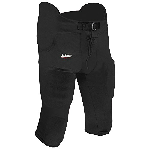 Adult Practice Football Pants - Schutt Sports All-in-One Poly Knit Varsity Football Pant, Black, Medium