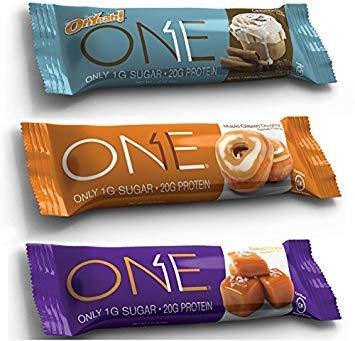 Oh Yeah! One Bar, New Flavors Variety Pack, 2.12 oz/12 bars (4 Cinnamon Roll, 4 Salted Caramel, 4 Maple Glazed Doughnut)